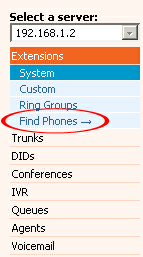 "Registering Aastra 55i 2.4.2 Auto Configuration 1. Navigate to ""Extensions: Find Phones"". 2. A pop up window will appear."