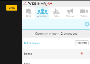 Attendees - Request to Speak Ask your friends to look in the sidebar and they'll see a button where they can request to speak Invite as Presenter When you