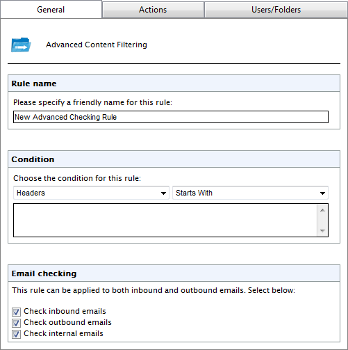 Screenshot 82: Adding a new Advanced Content Filtering rule 2. In Rule Name area, provide a name for the new rule. 3.