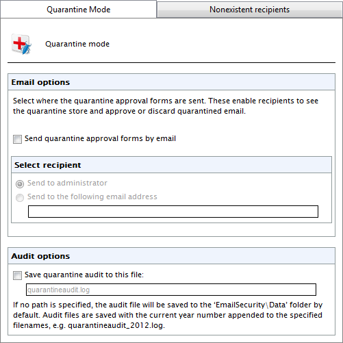 Screenshot 97: Quarantine Mode 2. From Quarantine Mode tab, select Send quarantine approval forms by email checkbox to enable the sending of Quarantine Approval Forms. 3.