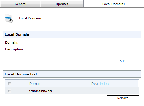 10.4 Local domains Screenshot 121: Local Domains list GFI MailEssentials requires the list of local domains to enable it to distinguish between inbound, outbound or internal emails.