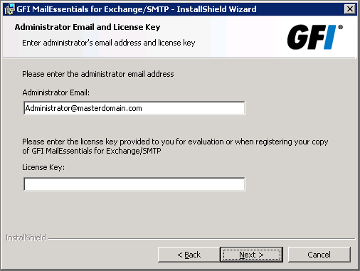 It is recommended to install GFI MailEssentials at a time when restarting these services has the least impact on your network. 3.3.2 Running installation wizard 1.