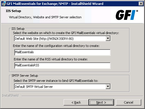 Option No, I do not have Active Directory or my network does not have access to Active Directory (DMZ) SMTP mode Select this mode if you are installing GFI MailEssentials on a machine that does not