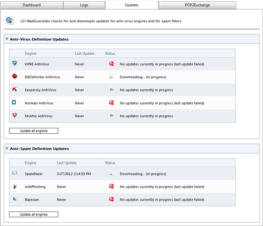 4.1.3 Antivirus and anti-spam engine updates Screenshot 19: Virus scanning engines updates The updates of antivirus and antispam scanning engines can be monitored from a central page.