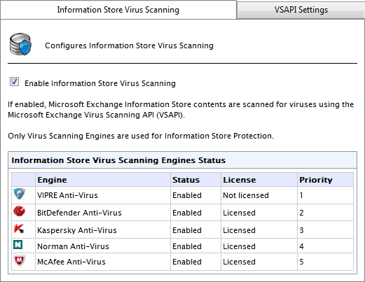 Screenshot 42: Information Store Protection node 2. From Information Store Virus Scanning tab, select Enable Information Store Virus Scanning. 3. Click Apply.