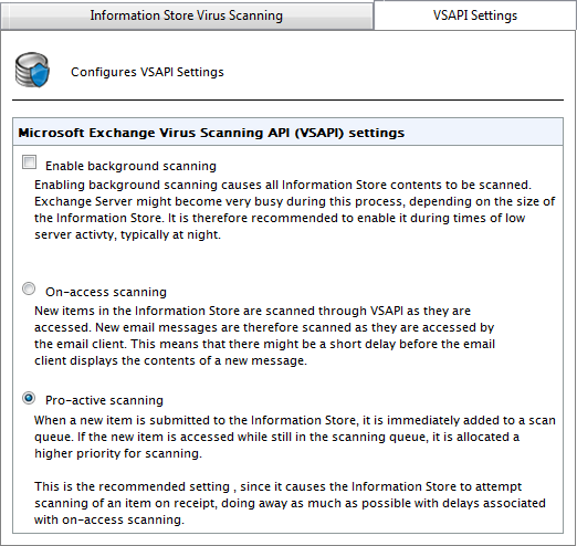 Screenshot 43: VSAPI Settings WARNING Background scanning causes all the contents of the Information Store to be scanned.