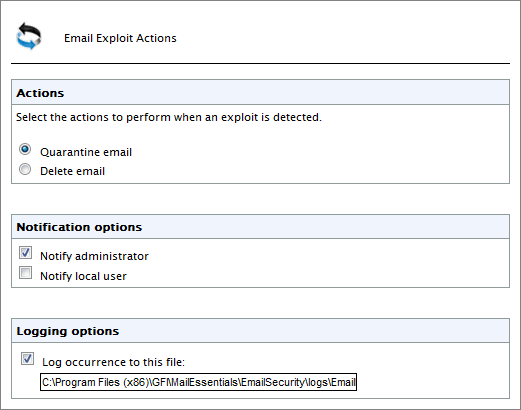 Screenshot 47: Virus Scanning Engine: Configuration page (Actions Tab) 3.