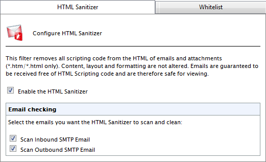 5.5.1 Configuring the HTML Sanitizer 1. Go to EmailSecurity > HTML Sanitizer. Screenshot 50: HTML Sanitizer configuration page 2.