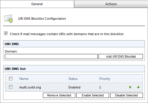 Option Add IP DNS Blocklist Enable Selected Disable Selected Remove Selected If required, add more IP DNS Blocklists to the ones already listed.