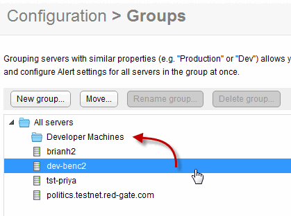 Organizing monitored servers into groups Use the Groups page (Configuration > Groups) to organize your servers into groups sharing similar properties. Why create a group?