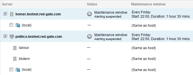 For the duration of the maintenance window (between 22:00 and 23:30 every Friday in this example), the Status of the affected machines changes: The status displayed on the Overview pages for the