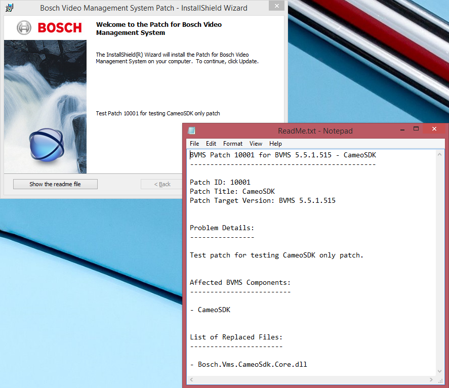 10 en Patch Deployment Sequence Bosch Video Management System Figure 3.3: Opened ReadMe.