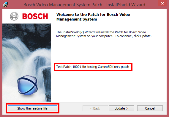 Bosch Video Management System Patch Deployment Sequence en 9 Figure 3.2: Patch details dialog with short patch description and Show the readme file button.