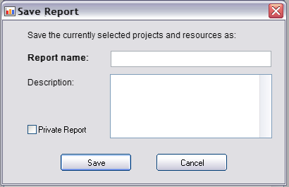 Saving Project Reports Users have the ability to easily save the reporting criterion in the case that they run reports on a frequent basis, in addition to being able to save the exact formatting of