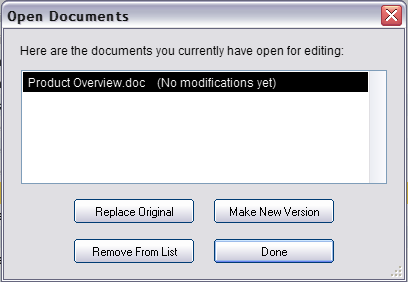 Once a document has been uploaded, you are provided with some powerful editing tools including: 1. Ability to launch virtual files in their associated desktop application 2. Document Versioning 3.