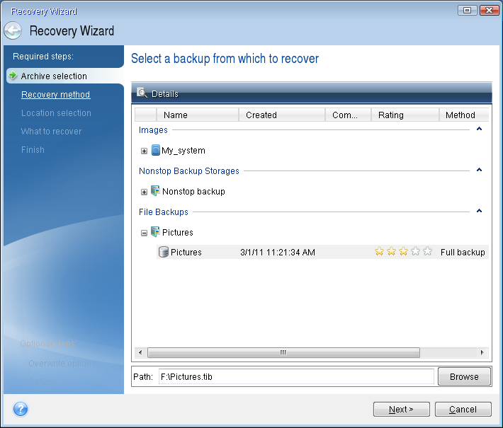 How to test recovery, as well as check the drives and network adapter 1. If you have file backups, start Recovery Wizard by clicking Recovery -> File Recovery on the toolbar.