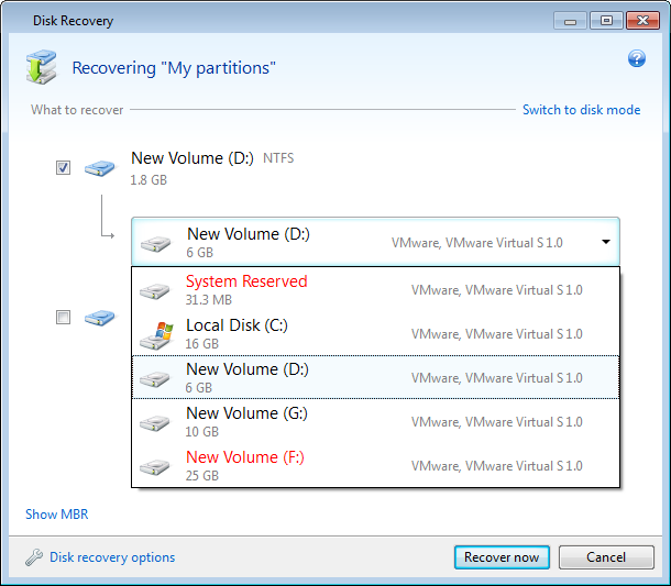 2. When the Disk Recovery window opens, select the corresponding check box of the partition to recover. 3.
