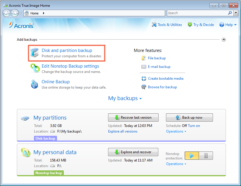 How to back up a partition or disk Use the Disk and partition backup, if you want to back up the system partition (in most cases designated with the letter C:).