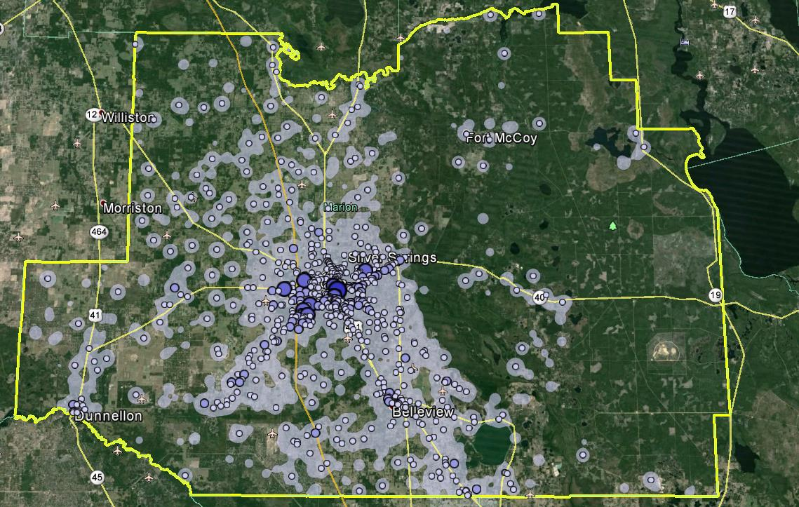 Marion County Where Workers Work in Marion County ; Google Earth The highest concentrations of workers within Marion County are around Ocala and along major transportation corridors.
