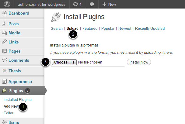 Install The Plugin It's easy to install Authorize.net for WordPress. In most cases, it can easily be installed using only your browser.