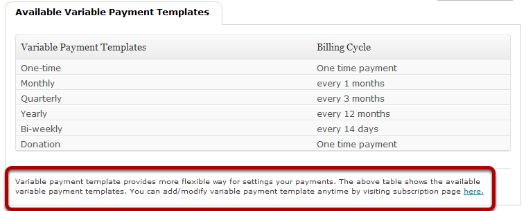 We have now an additional link on the Variable Payment Template page wherein you can go directly