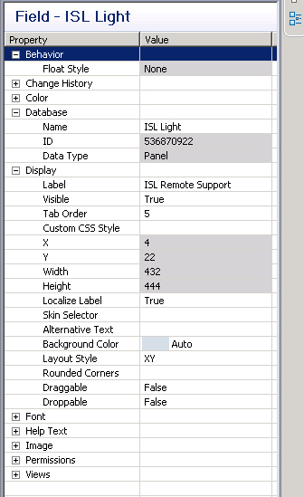 15 In Database section change name to ISL Light In Display section, set Label to ISL