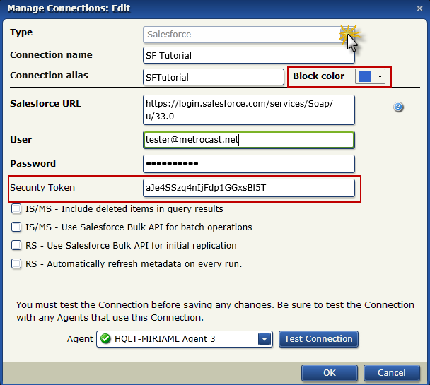 Configure A Salesforce Connection 3. Click in the Connection name field and type SF Tutorial. The Connection alias field is automatically completed. 4.
