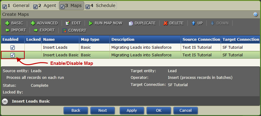 Convert A Basic Map To An Advanced Map Enable/Disable A Duplicated Basic Map When a map is duplicated it is marked as Incomplete and is disabled.