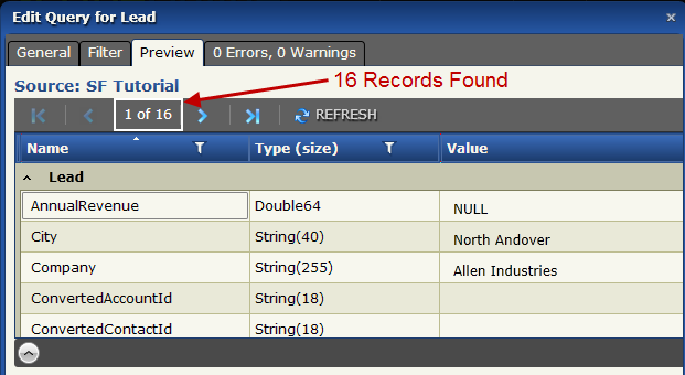 Create An Advanced Map To Delete Tutorial Data From Salesforce G. Click the Preview tab. You should have 16 records.