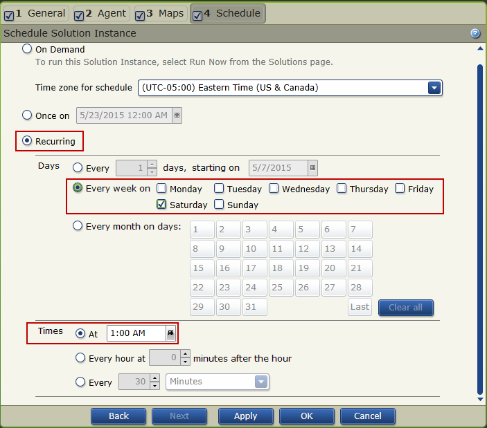 Configure A Recurring Schedule For A