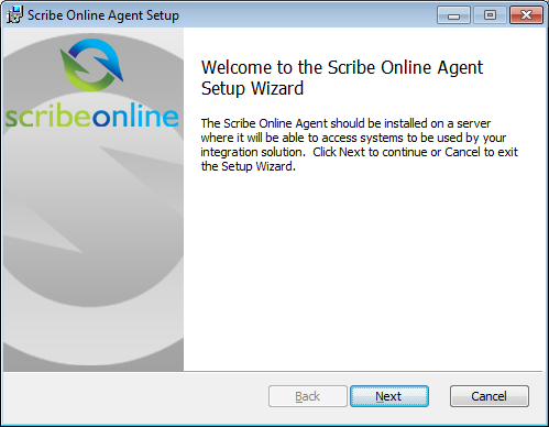 Install A Scribe Online On-Premise Agent Install The Scribe Online Agent Agent Install Wizard 1. From the Welcome to the Scribe Online Agent Setup page, click Next. 2.