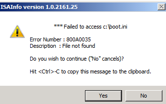 Figure 10: Forefront TMG ISAInfo is collecting data Because the tool seems not to be completely redesigned to work with Forefront TMG you will get some error message popup boxes until the ISAInfo