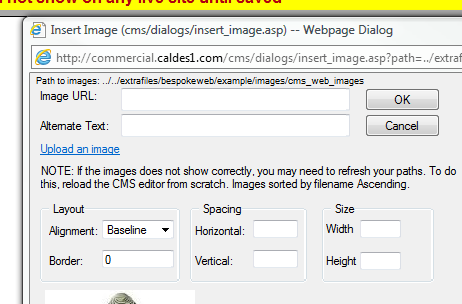 3.5. Uploading images 3.5.1. See above for ensuring the images is the correct size and format. 3.5.2. Click on your HTML page (100.6 Pages menu) and then click the picture tool in the menu shown 3.5.3. A new window will appear 3.