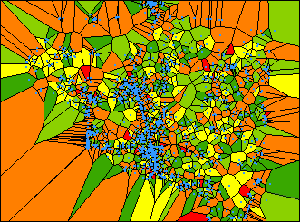 A SIMPLE VORONOI MAP Green = little local variation Orange and Red = greater local variation A simple Voronoi map shows the data value at each