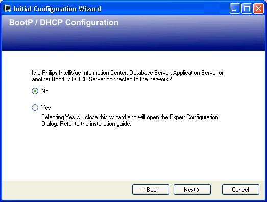 3 Configuration Reference Initial Configuration Wizard Selecting the Network Card Select the network card that is connected to the subnet containing the patient monitors.