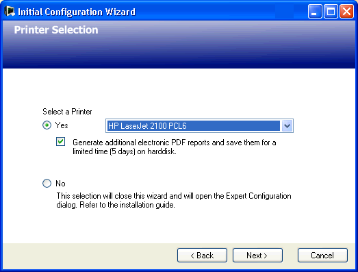 Initial Configuration Wizard 3 Configuration Reference If you click on Yes here the Expert Configuration dialog will open so that the BootP process in the application can be disabled.