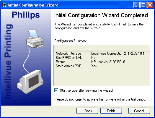 3 Configuration Reference Expert Configuration Saving the Configuration In the final screen of the Initial Configuration Wizard, the configuration settings you have selected are shown and you must