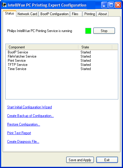Expert Configuration 3 Configuration Reference Status Tab On the Status tab you see the status of the print service (running or stopped) and can start the service with the Start button when it is