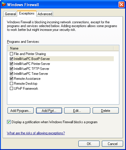Windows Firewall Configuration 3 Configuration Reference Setting An Exception For The Individual Ports On the Exceptions tab, select the Add Port button.