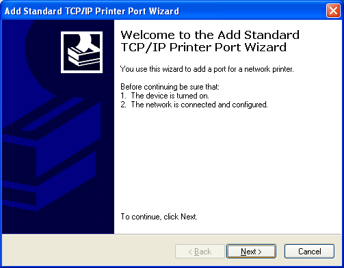 Example Procedure For Setting Up A Network Printer 4 Appendix A Select Create a new port and then select Standard