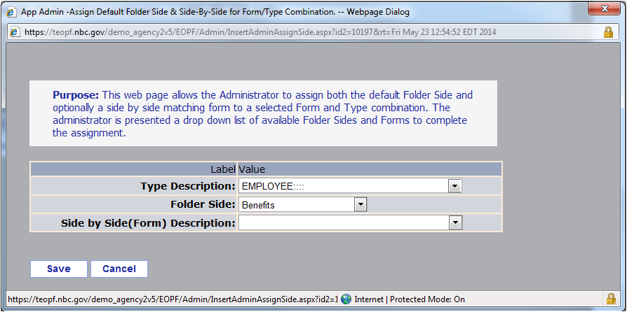Chapter 6. Working With Form Types A list of forms meeting the selected criteria displays. 4. Click the Folder Sides link associated with the desired form.