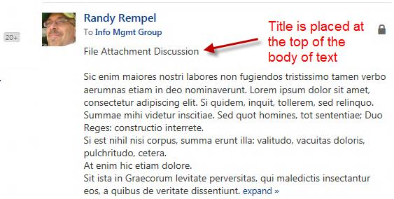 Yammer Main Topic The main topic in a discussion in Yammer does not display a title. The migrated title is added to the beginning of the main topic content.