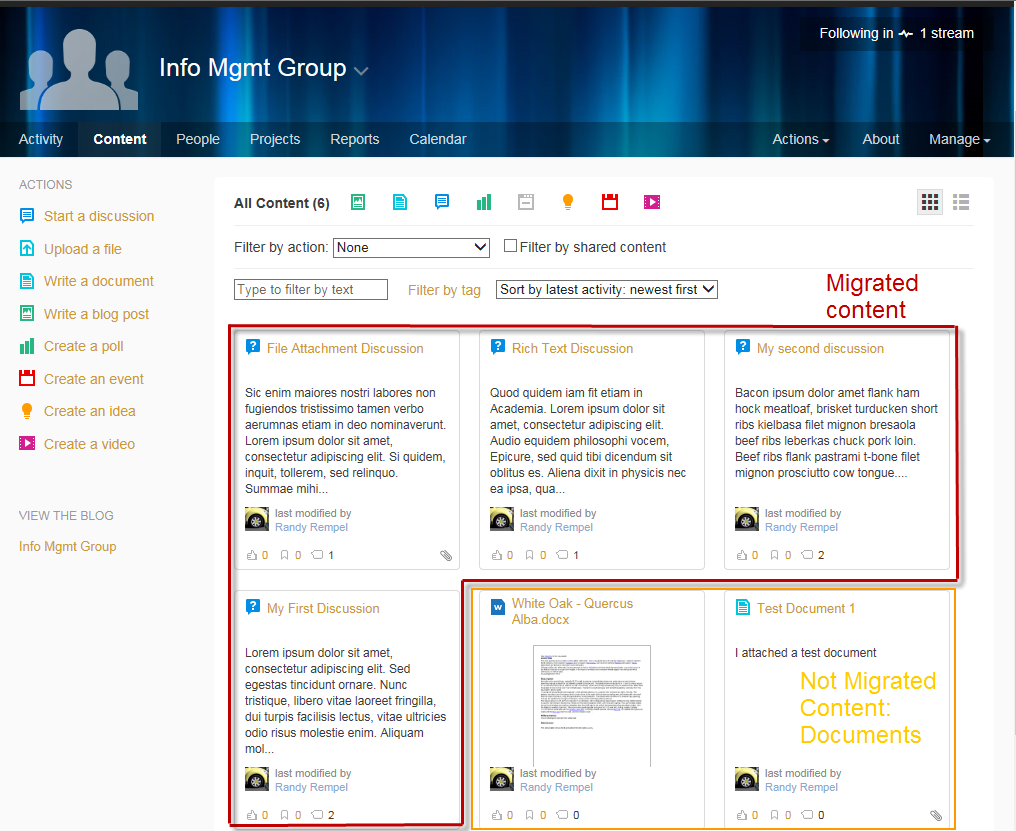 Reviewing the Migrated Content The Jive content appears as below on the content home page.