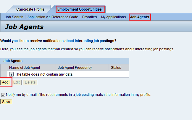 Click on the Job Agents view to activate the job agents