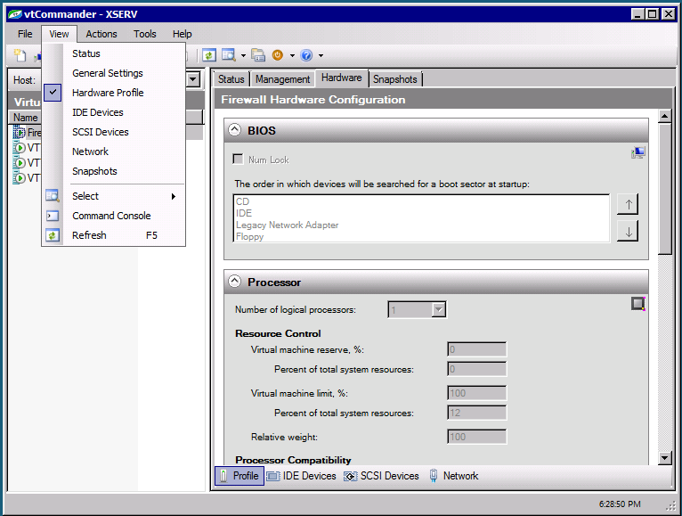 Create New Virtual Machine and Import Virtual Machine Actions menu commands and corresponding toolbar buttons.