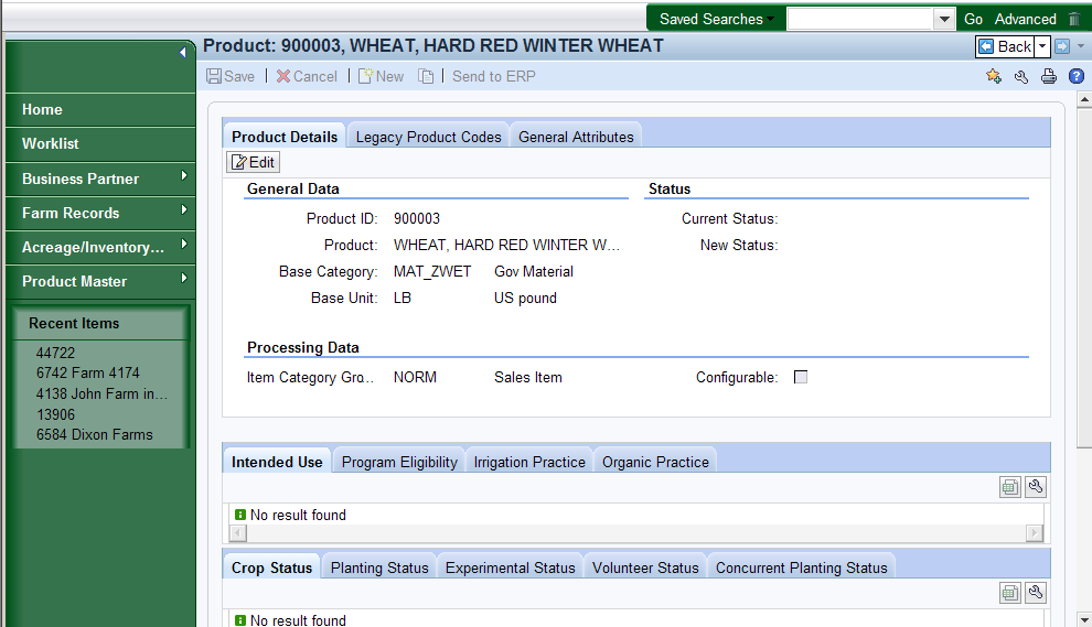 Product: 900003, WHEAT, HARD RED WINTER WHEAT 16. Click Back button.