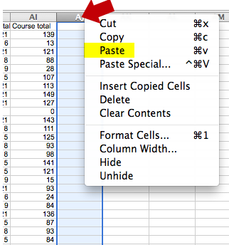 e. Copy the letter grade column by clicking on the letter at the top of the column, then rightclick to copy the column.