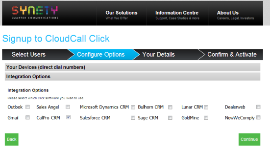 Below are the 6 simple steps to enable your CloudCall Click service through SYNETY: Step 1: Go to www.synety.com and choose CloudCall Click, then select the Active Now button.