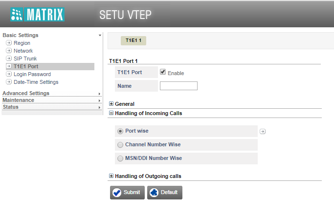 E1 to SIP Routing Configuration in SETU VTEP Under Basic Settings on the left navigation bar, click the T1E1 Port. The T1E1 parameters page opens. Click Handling of Outgoing Calls to expand.