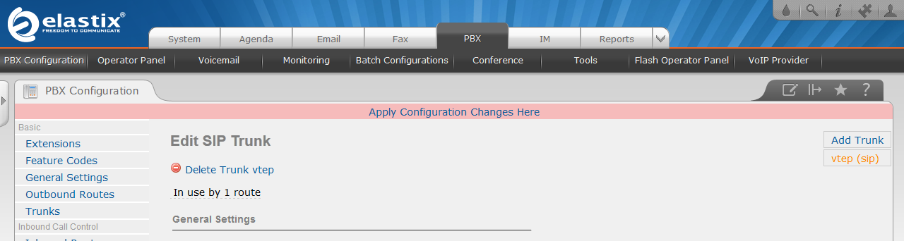 Click on Apply Configuration Changes Here New configuration setting will be